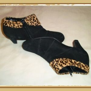 Play Date Black Suede Animal Skin Cuff Booties
